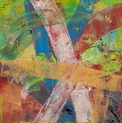 Mapping a Place 1, oil on board, 12 x 12 inches. Abstract, layered surface