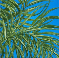 Tropical Study 4, oil on canvas, 10 x 10 inches. Blue, plant painting