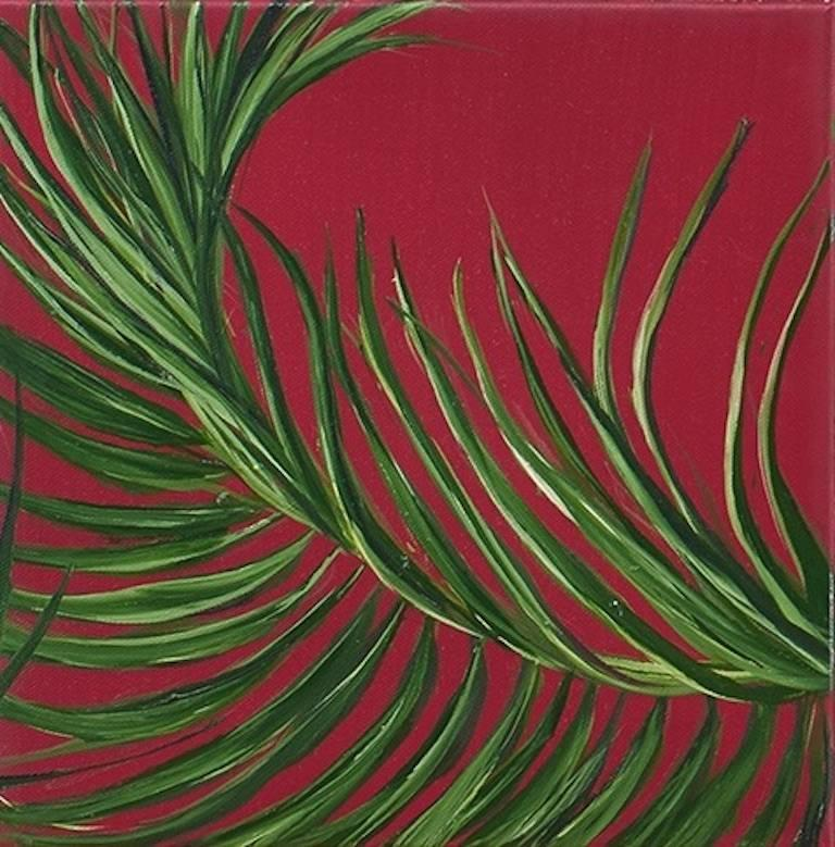 Tropical Study 5, oil on canvas, 10 x 10 inches. Red and green plant painting