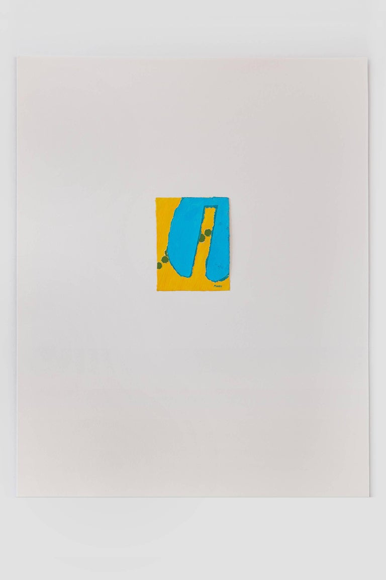 Untitled III (yellow blue), paint on paper, 20 x 16 inches. Blue and yellow form - Abstract Mixed Media Art by James Moore