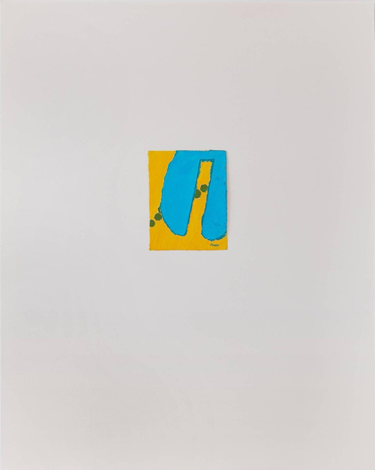 Untitled III (yellow blue), paint on paper, 20 x 16 inches. Blue and yellow form - Mixed Media Art by James Moore