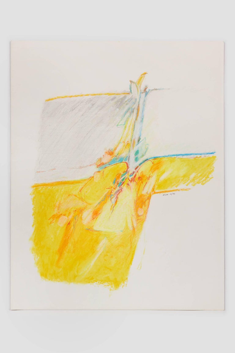 Untitled II (yellow), pastel on paper, 20 x 16. Yellow composition  - Art by James Moore