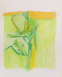 Untitled II (green yellow), pastel on paper, 20 x 16 inches. Bright colors