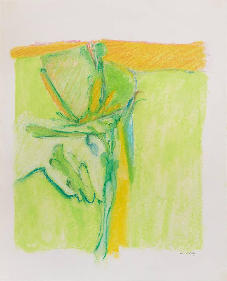 James Moore Abstract Drawing - Untitled II (green yellow), pastel on paper, 20 x 16 inches. Bright colors