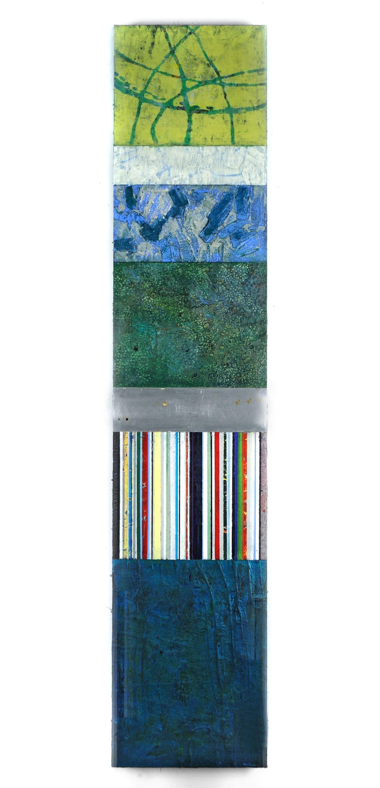Strata 18-1, acrylic and wax on metal, 58 x 12 inches. Blue and green sectors - Mixed Media Art by Francie Hester
