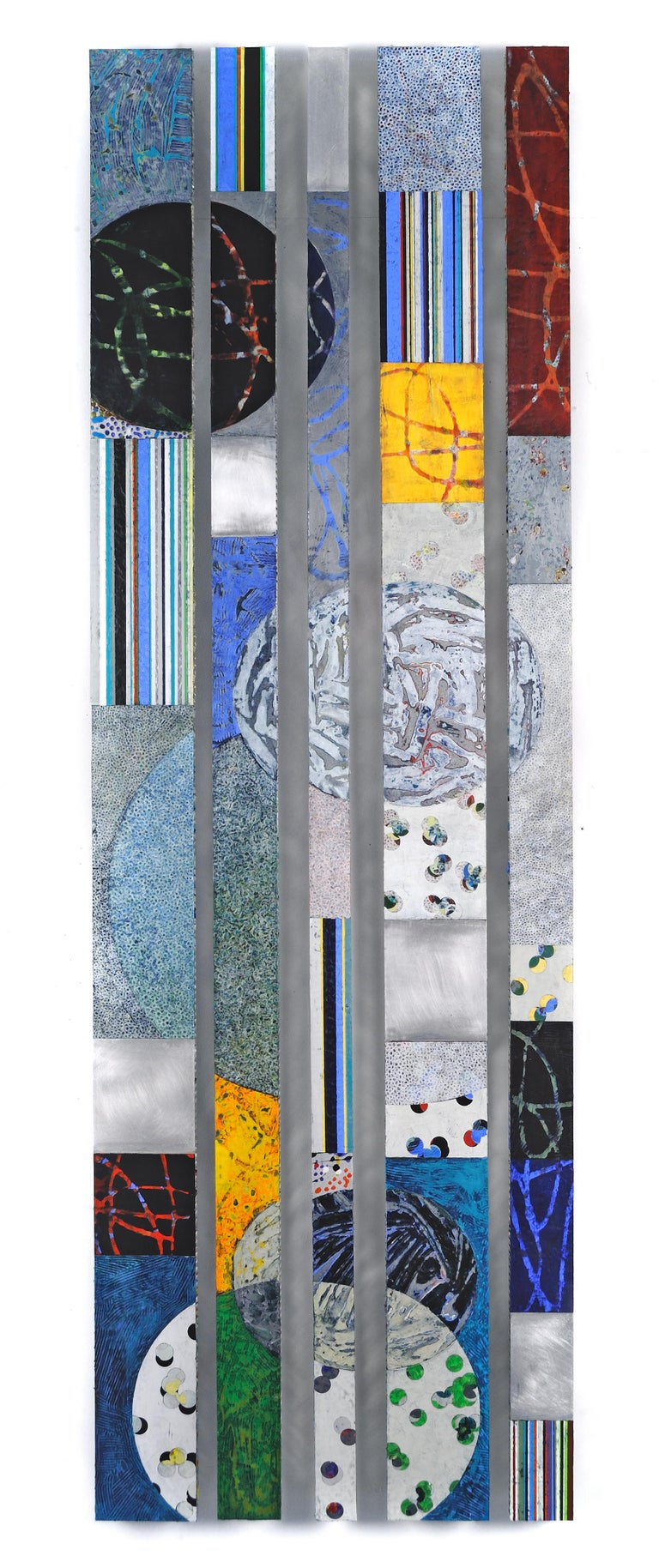 Strata 18 Set A, 2017, acrylic and wax on metal, 72 inches. Geometric forms - Mixed Media Art by Francie Hester