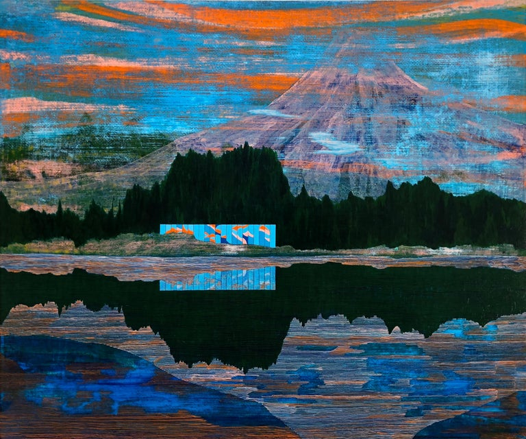 Western Pacific, 2018, acrylic on panel, 20 x 24 inches. Reflected landscape