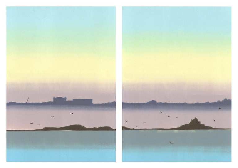 The Ships Come In, monoprint, 37 x 52 inches. Pastel coast