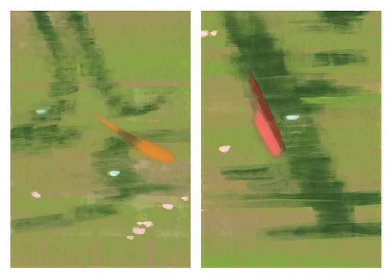 Rachel Burgess Landscape Print - Blossoms, monoprint, 37 x 52 inches. Abstract green landscape
