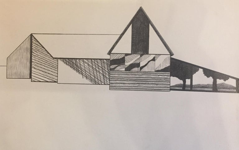 Refiner, graphite on paper, 5.25 x 8.125 inches. Abstract barn