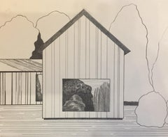 Receder, graphite on paper, 5.25 x 6.365 inches. Drawing of a house