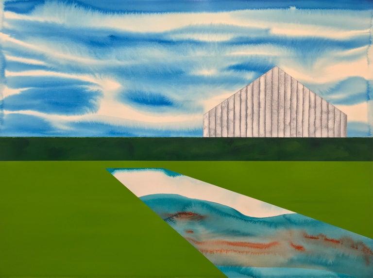 James Isherwood Landscape Painting - The Yearning Season.  Acrylic on paper, surrealist landscape with white barn