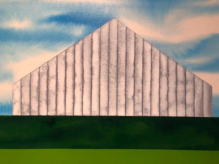 The Yearning Season.  Acrylic on paper, surrealist landscape with white barn  - Painting by James Isherwood