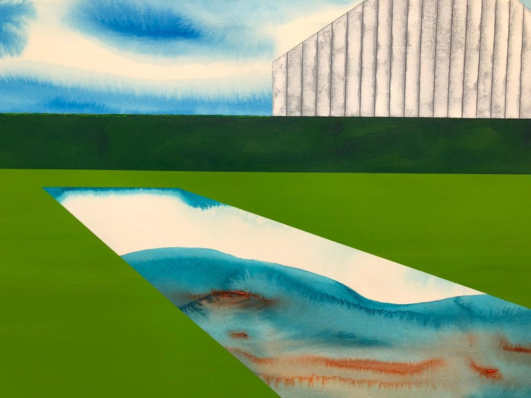 The Yearning Season.  Acrylic on paper, surrealist landscape with white barn  - Contemporary Painting by James Isherwood