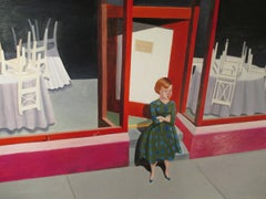 Restaurant. Acrylic paint on paper on board, pink interior scene with figure