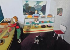 Cakes. acrylic on paper on board, bakery scene with figures