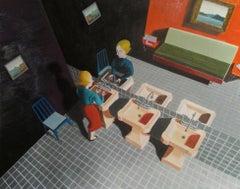 Ladies Room. acrylic on paper on board. interior bathroom scene