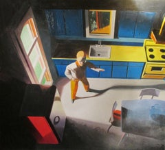 Working Man's Kitchen. Acrylic on paper on board, 16 x 17.5 in. Figurative work