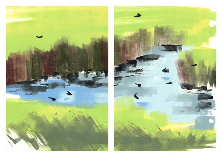 Swallows. 2018, montoype on two sheets of paper. Diptych landscape.