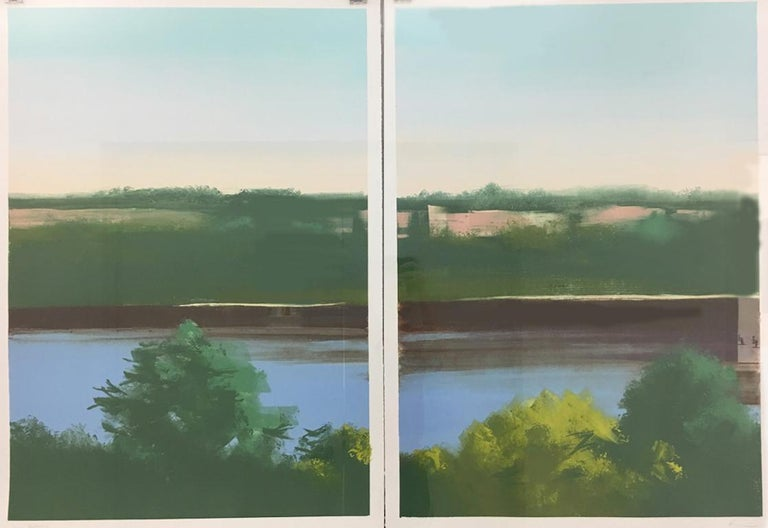 Hudson. 2018, montoype on two sheets of paper. Diptych landscape.