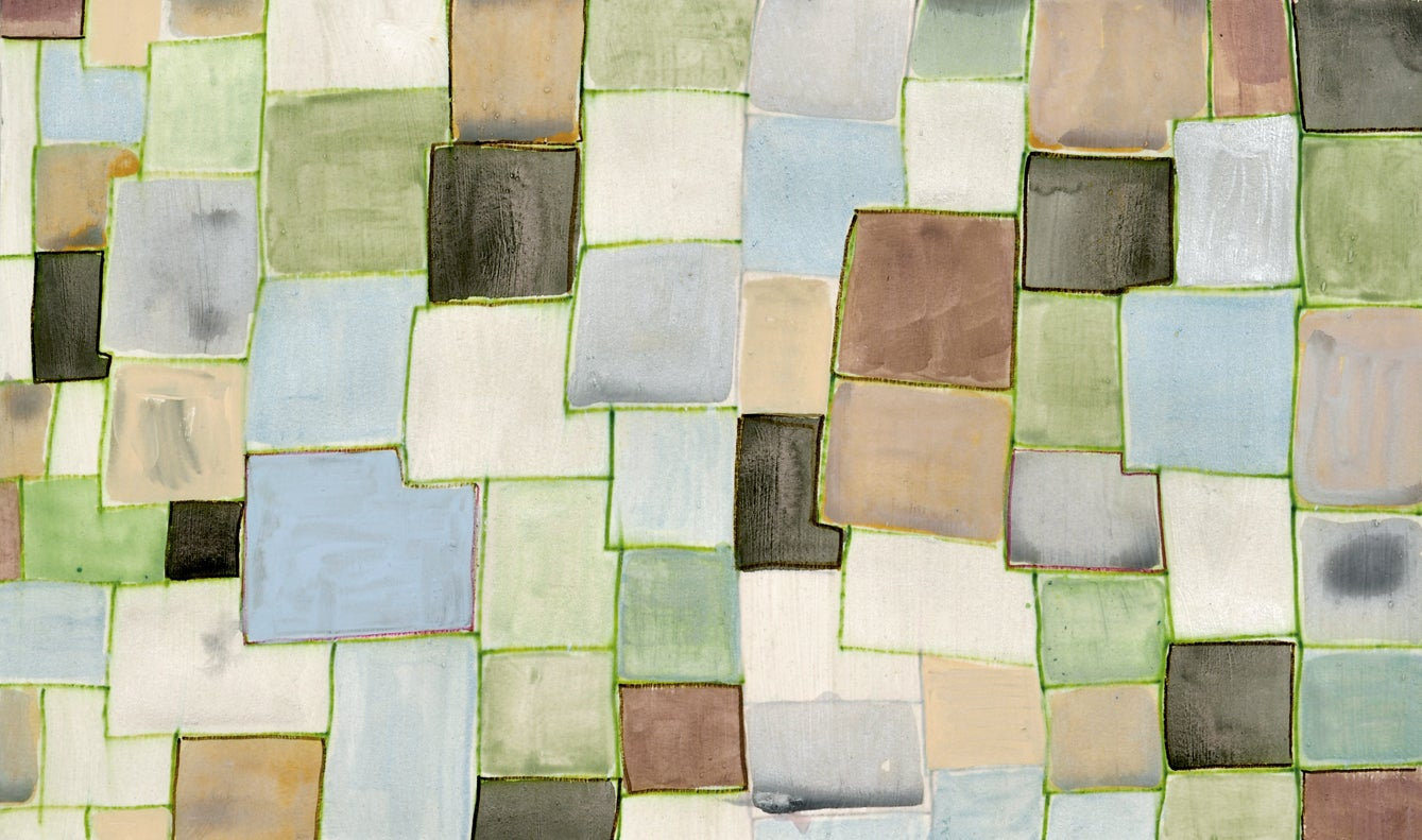 #131, neutral multicolored mixed media on paper, geometric pattern