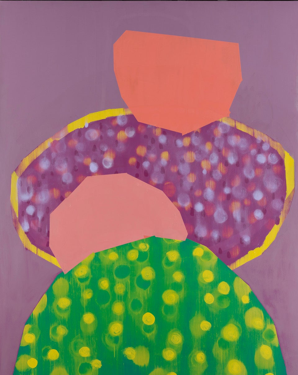 Passing, purple and green abstract oil painting on canvas, bright colors