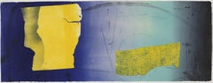 Untitled 13, blue and yellow geometric abstract print, framed