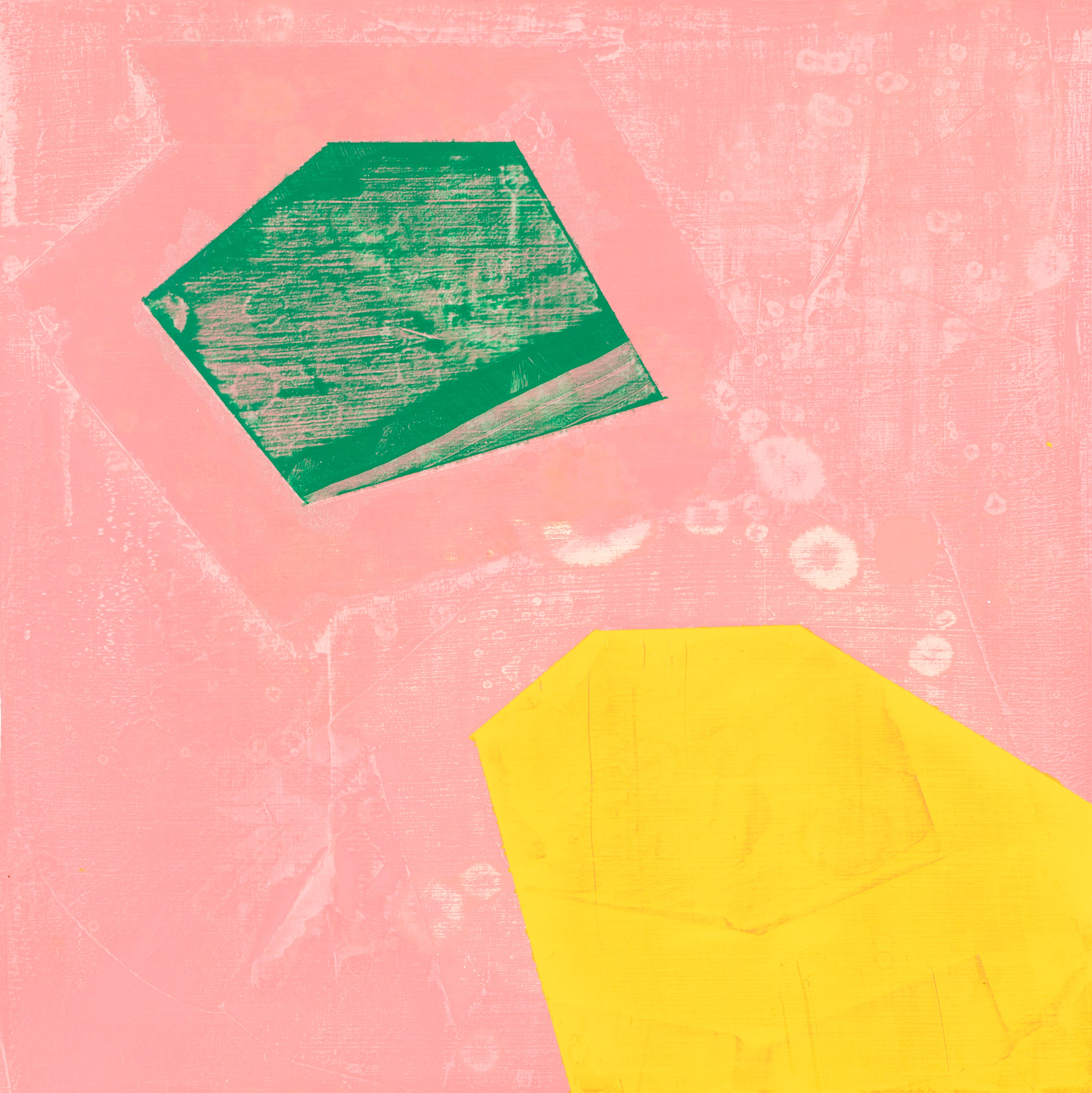"Sign, pink, yellow and green abstract oil painting on panel, 10"" x 10"""