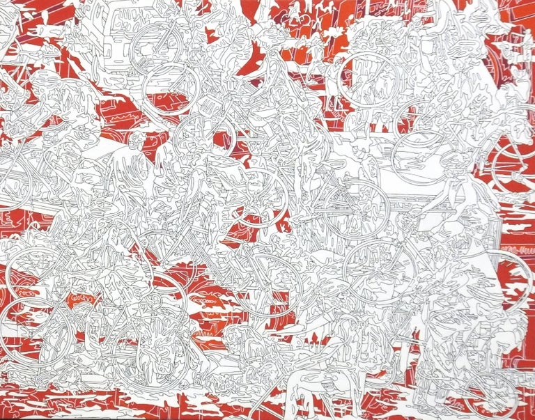 Kentaro Hiramatsu Abstract Painting - Park-r-1, red and white line drawing, busy city scene, abstracted people