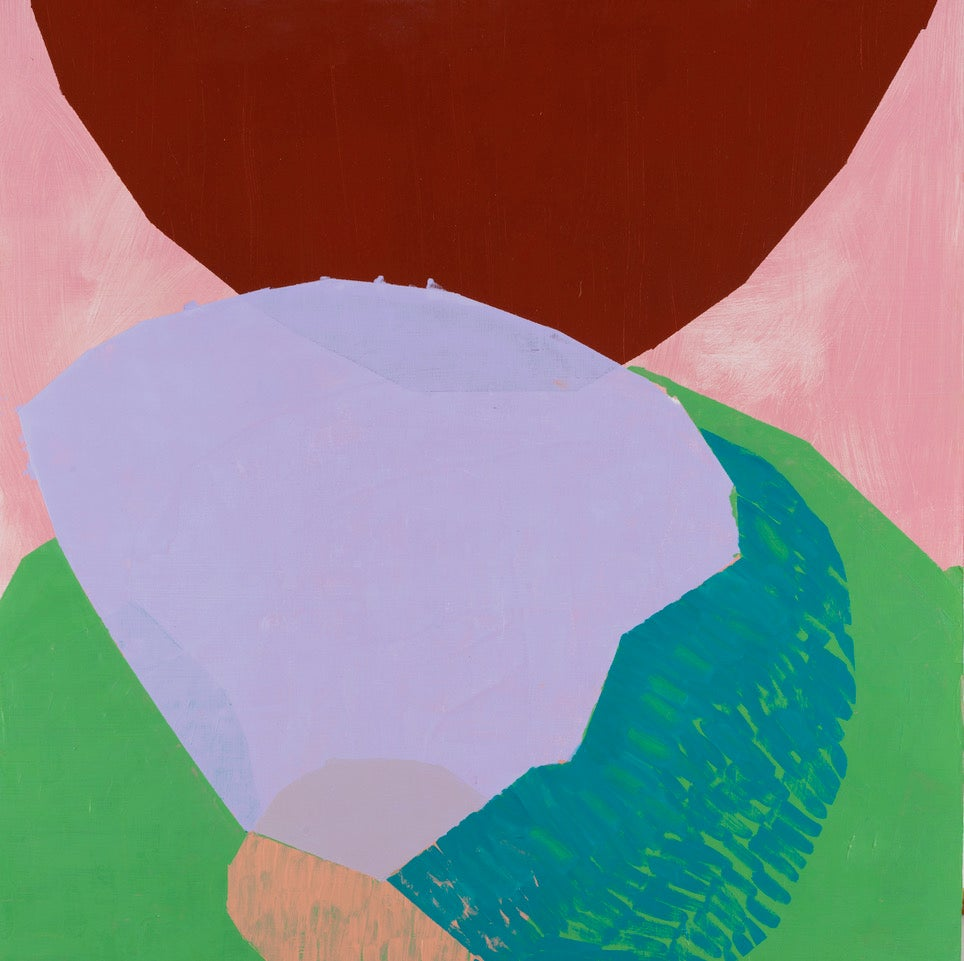 Crown, pink, purple and green geometric abstract oil painting on panel, shapes