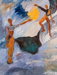 Habitat, two figures, abstract figurative painting on linen