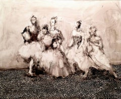 Five Dancers, abstract figures on panel, girls dancing