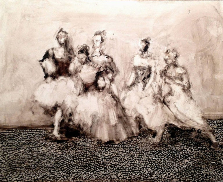 Alicia Rothman Portrait Painting - Five Dancers, abstract figures on panel, girls dancing