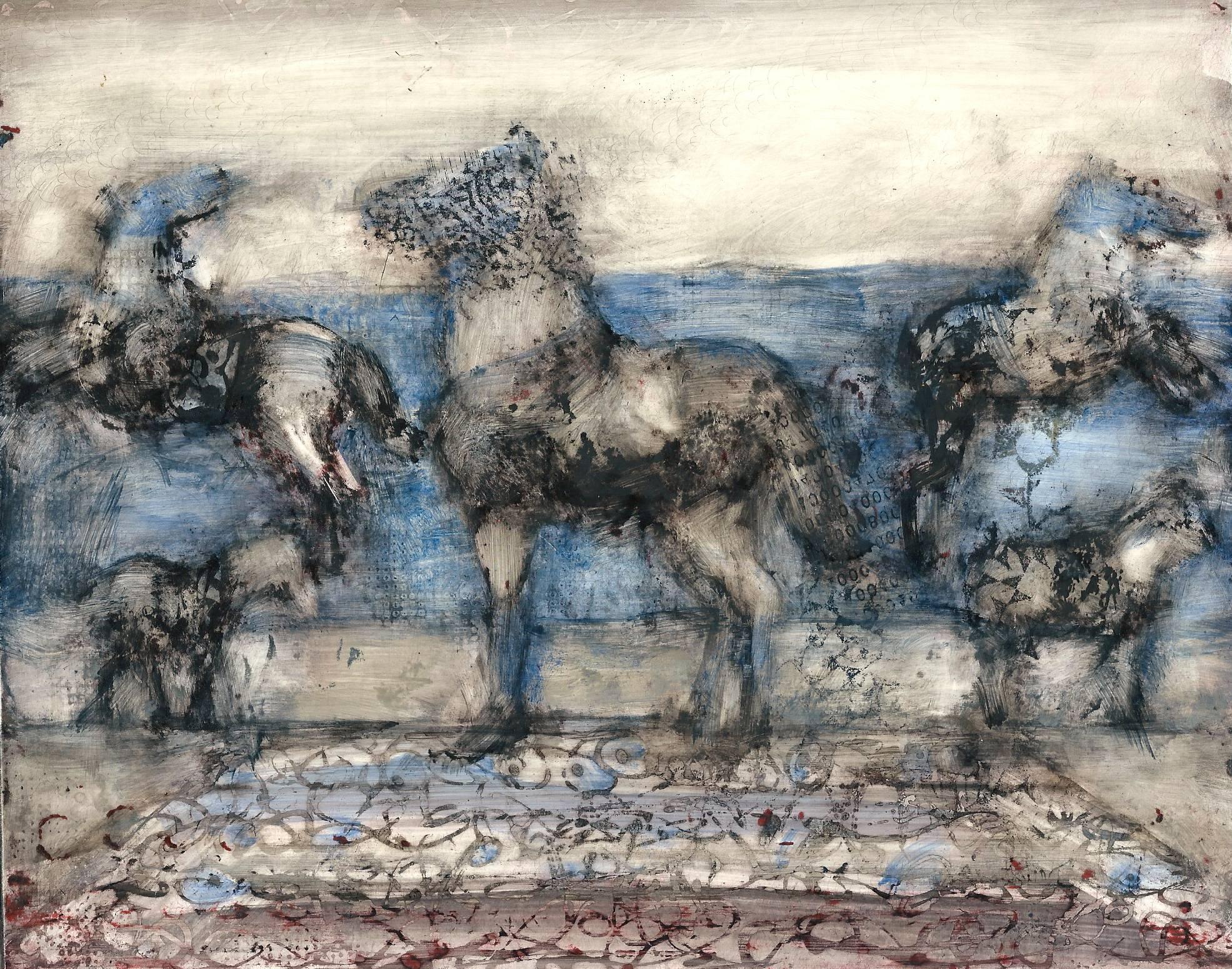Big Blue, mixed media painting of horses on panel