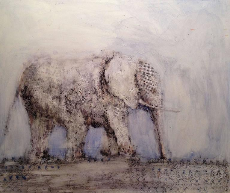 Alicia Rothman Walking Elephant Painting For Sale At 1stdibs