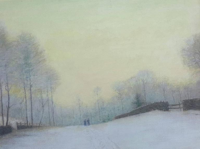 Birge Harrison Landscape Painting - Snowy Road at Kingston New York