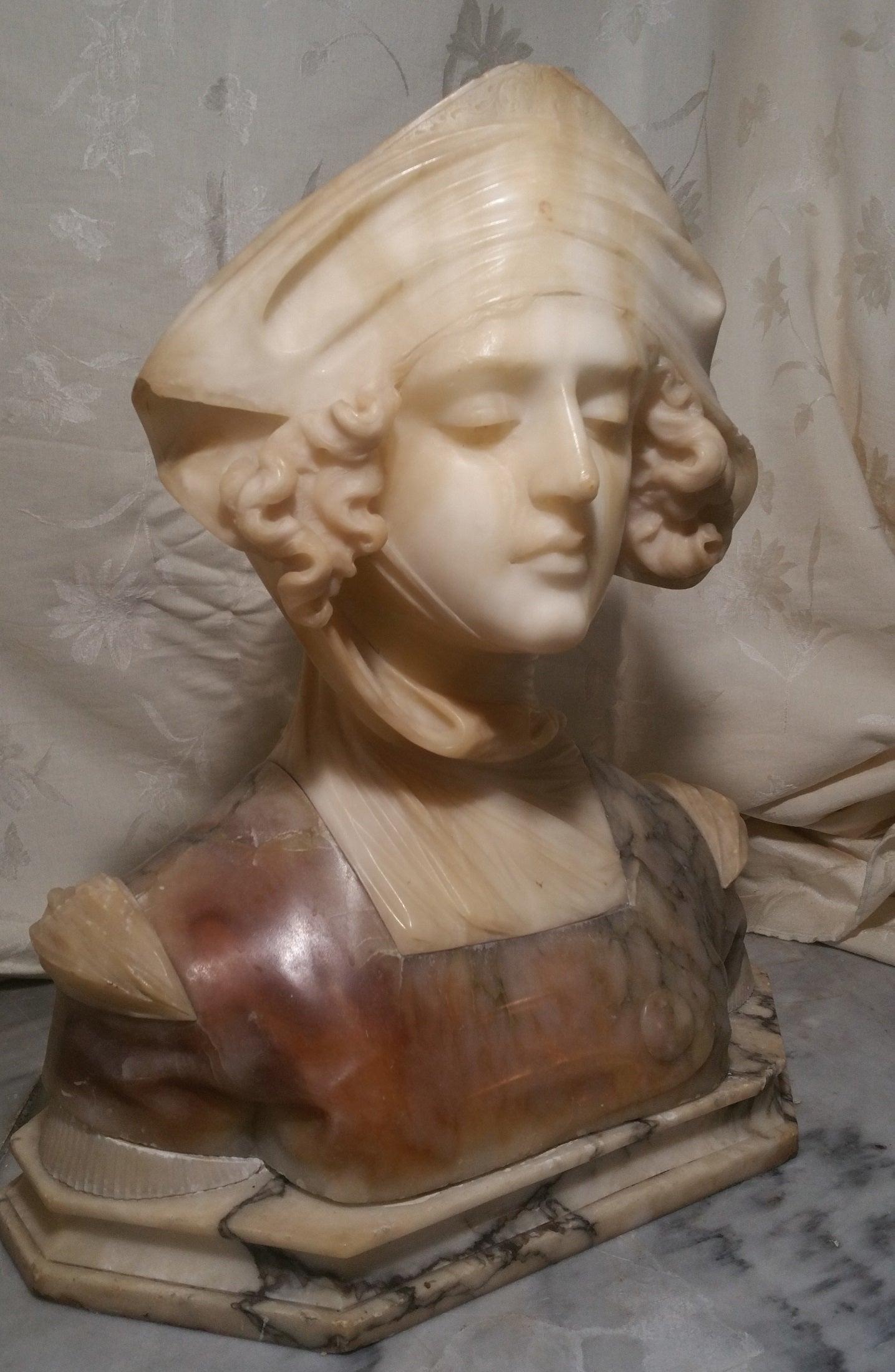 Art Nouveau Alabaster & Marble Bust Sculpture of Dante's Beatrice