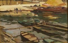 Sampans on the Seine River, Paris