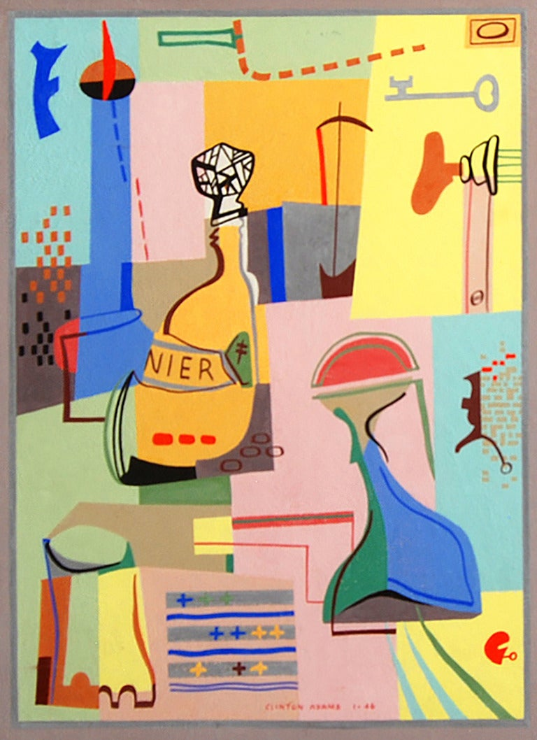 Clinton Adams Abstract Painting - Bottle and Parts of a Door