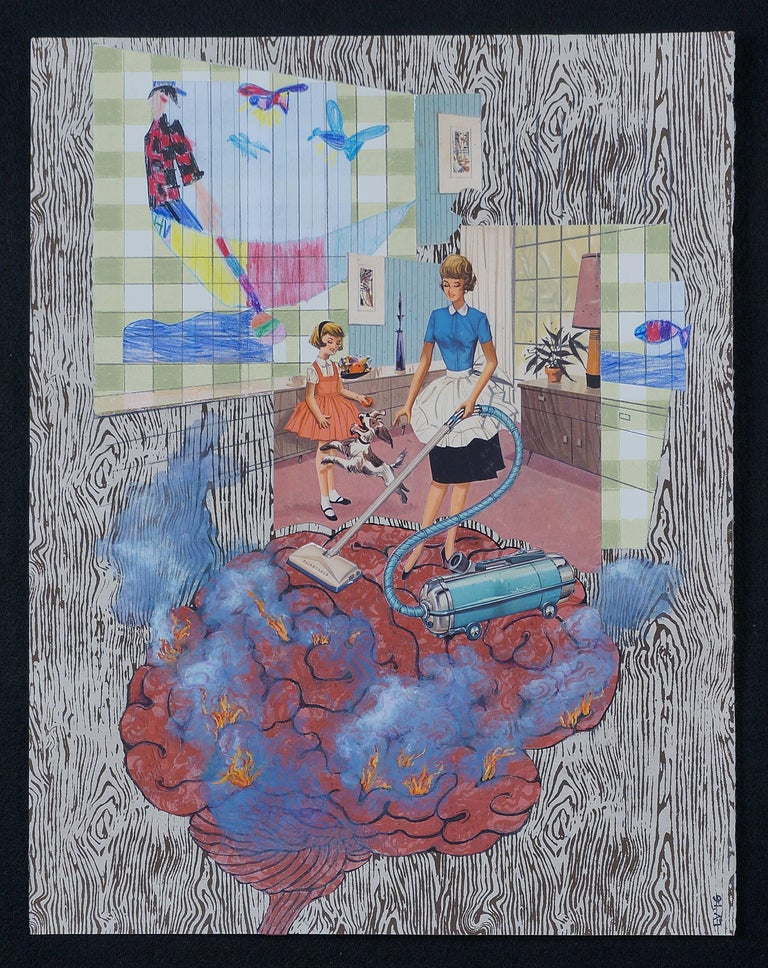 Lydia Viscardi, Where There's Smoke There's Fire, collage on board, Nostalgic - Art by Lydia Viscardi