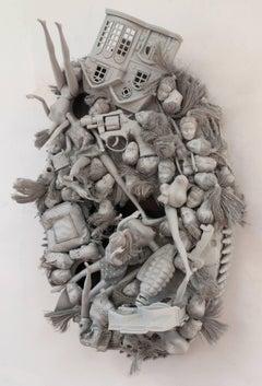 Margaret Roleke, Holy Torture, 2016, children's toys, spray enamel, wood