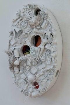 Margaret Roleke, White World View, 2016, children's toys, spray enamel, wood