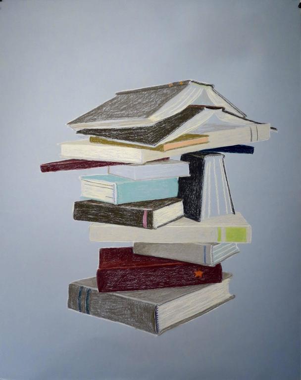 KK Kozik, Bookstack 3, 2016, Crayon, Archival Paper - Art by KK Kozik