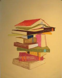 KK Kozik, Bookstack 2, 2016, Conté, Rag Paper