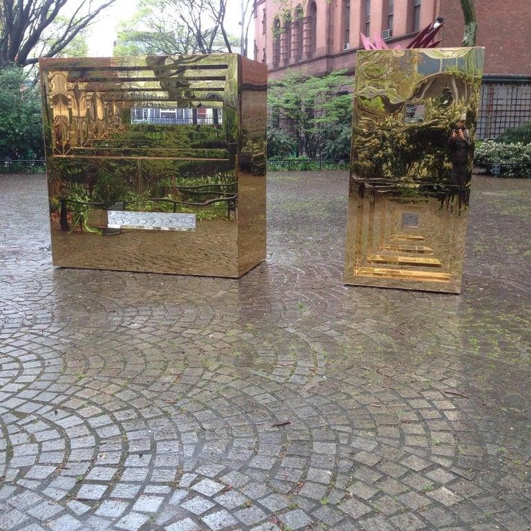 Jose Soto, Focus, 2017, Steel, Mirror, Plexiglass, Wood, Adhesive - Sculpture by Jose Soto