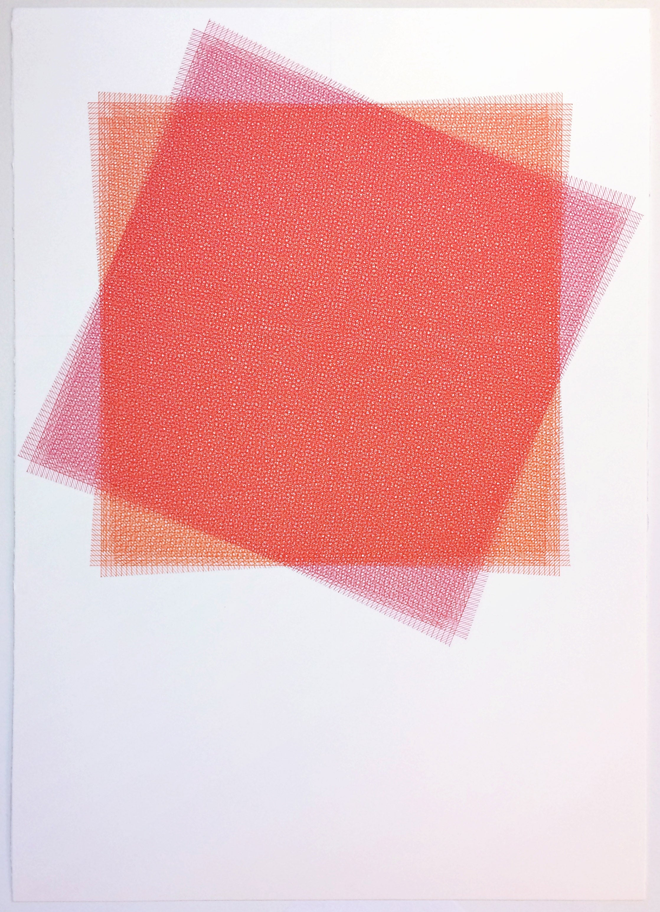 Sara Eichner, 16 Layers, Red and Pink Square, 2015, Ink, Rag Paper, Pen