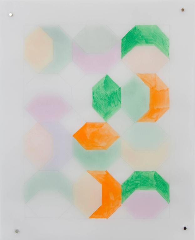 Alex Paik Abstract Drawing - Rearrangeable Drawing - Hexagon (Green)