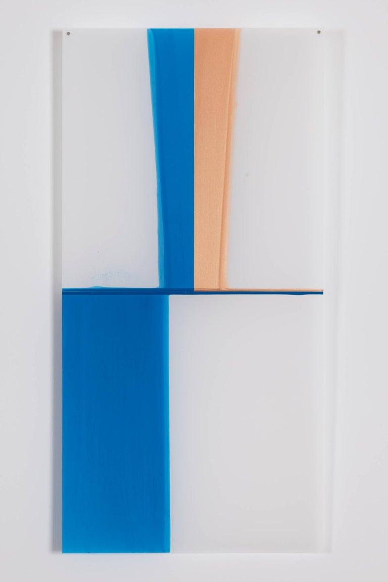 Mary Schiliro, Random Dip 4, 2015, Painting, Acrylic on Mylar, Abstraction - Gray Abstract Painting by Mary Schiliro