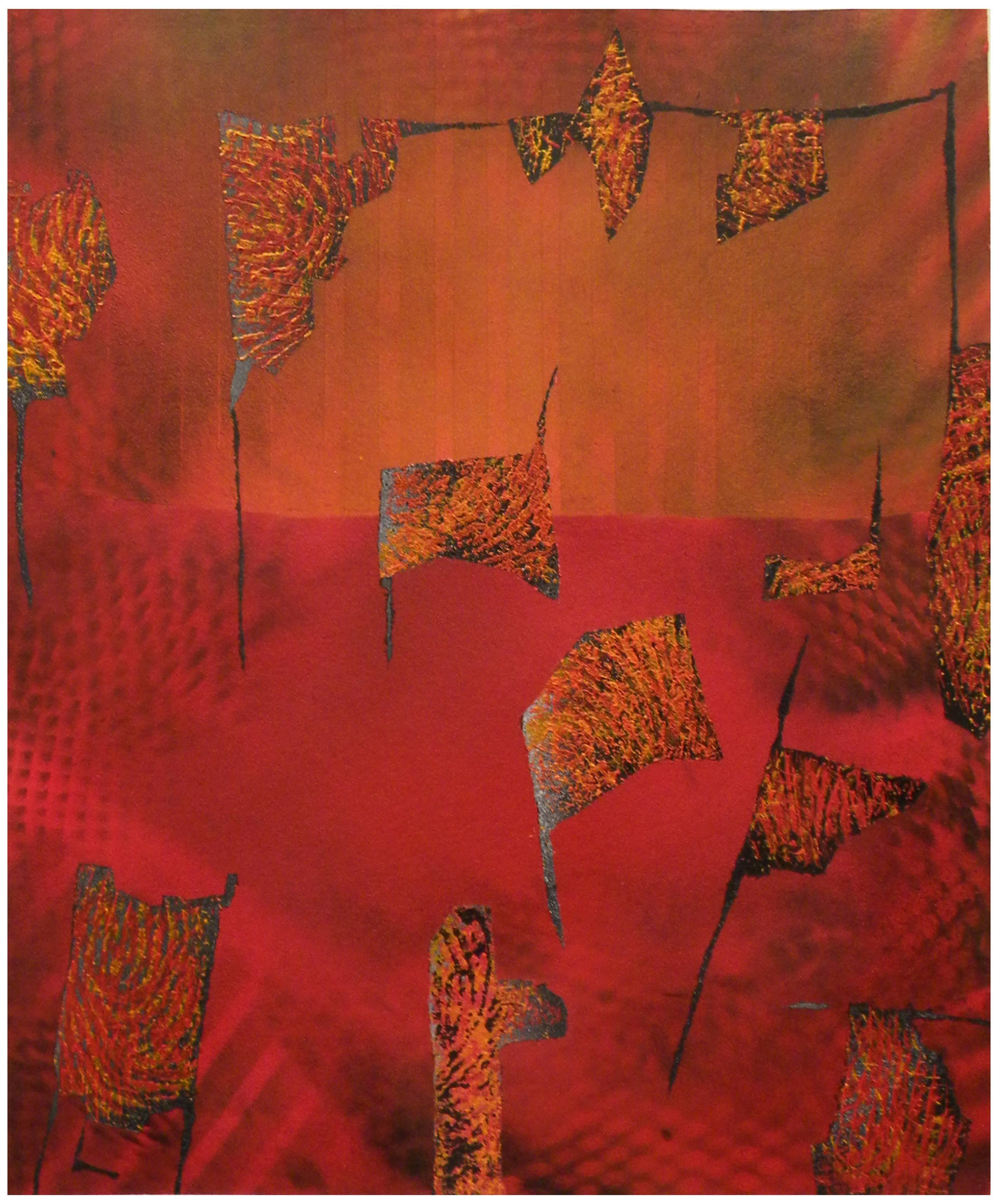 Jane Sangerman, Digit 46, 2016, Paper, Spray Paint, Acrylic Paint. Abstraction.
