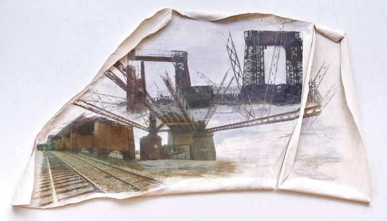 Linda Cunningham, 'Randall's Island Connector', Pastel, Found Objects, Canvas  - Mixed Media Art by Linda Cunningham